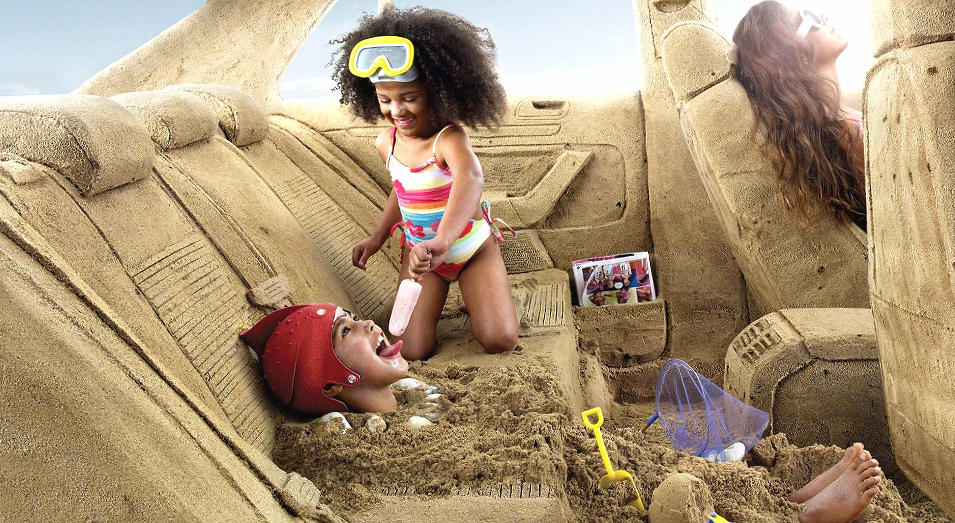 Sand car beach childrens digital wallpapers HD quality