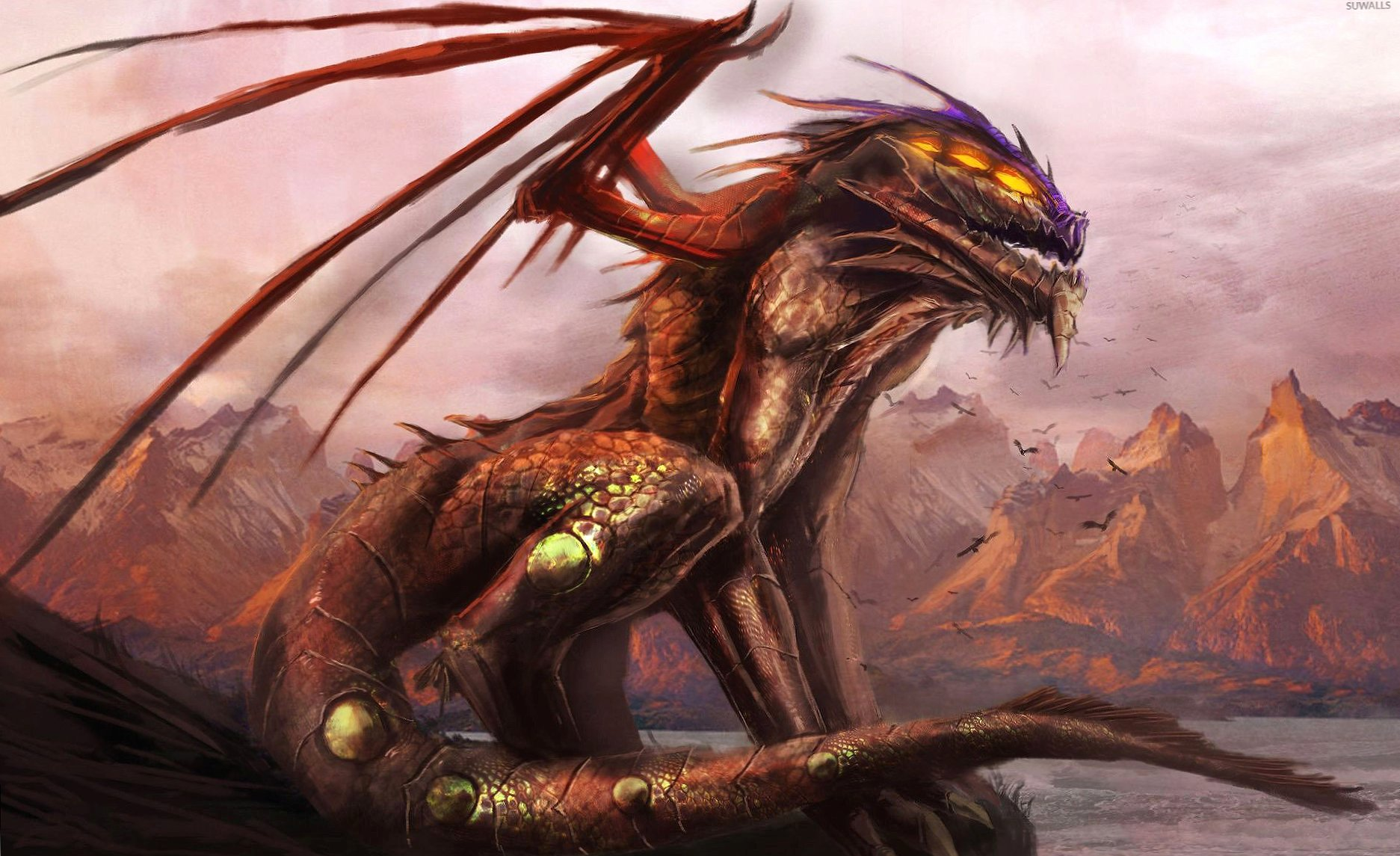 Scary dragon on the cliff wallpapers HD quality