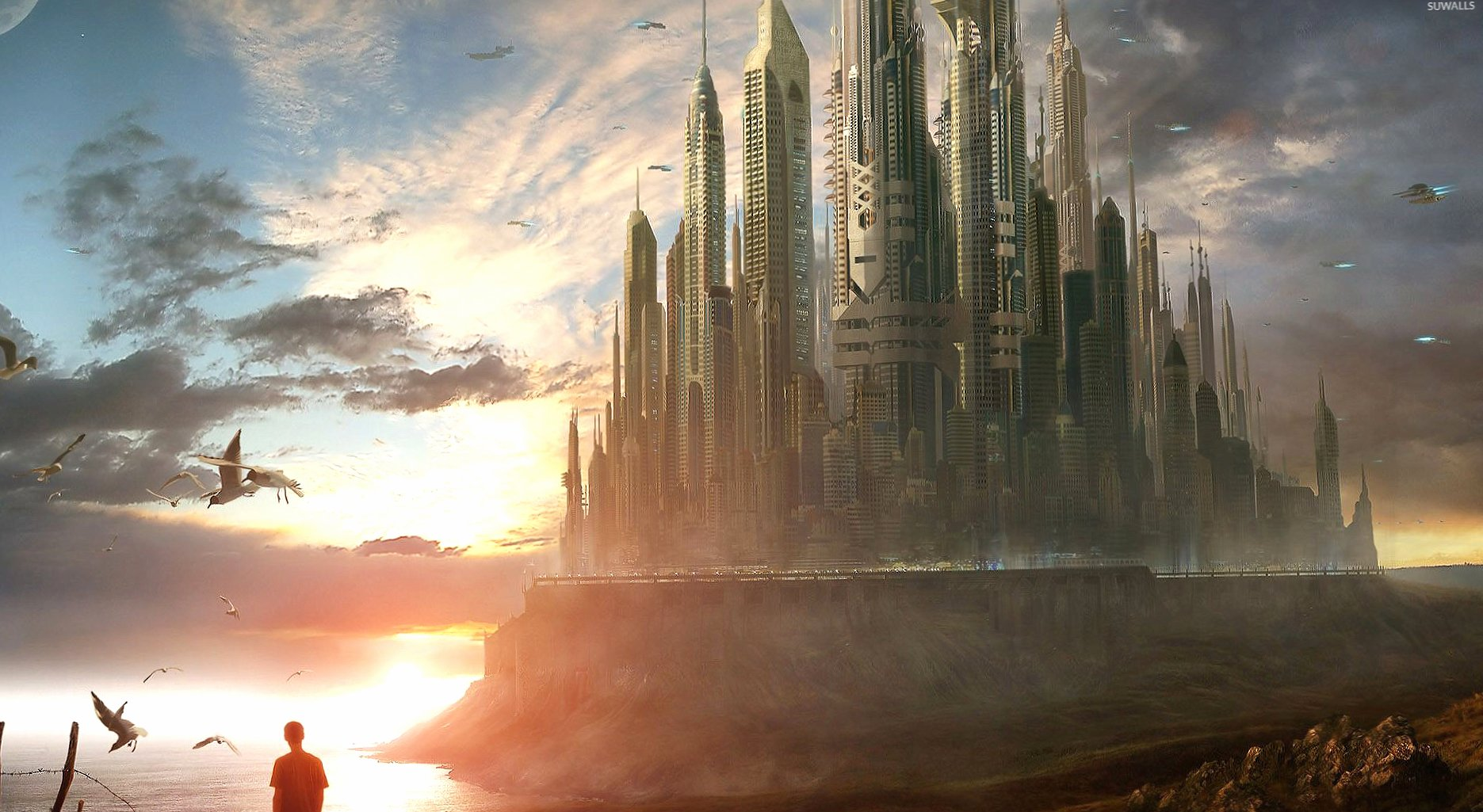 Sci-Fi castle in the light wallpapers HD quality