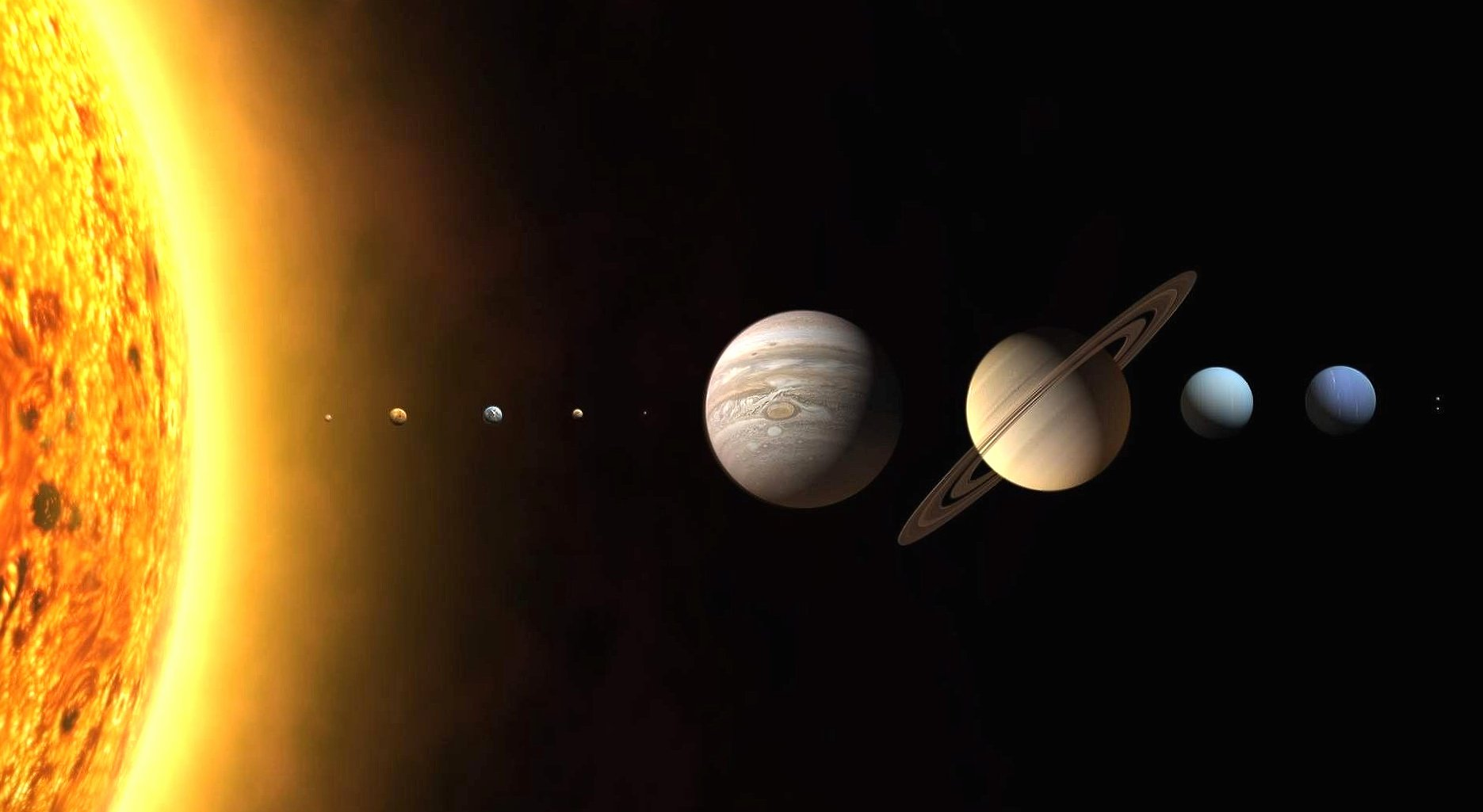 Solar system in scale wallpapers HD quality