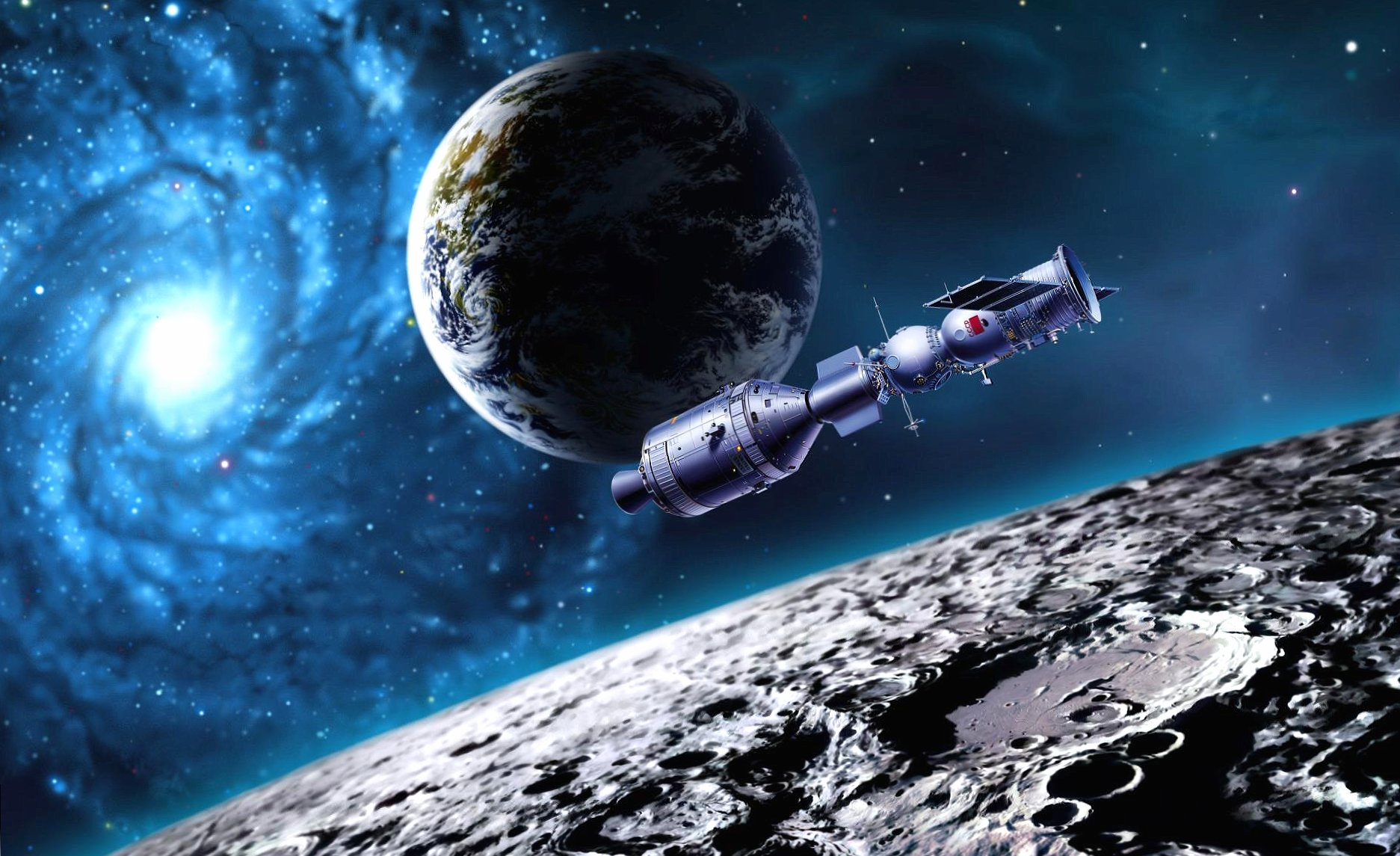 Spaceship near moon wallpapers HD quality