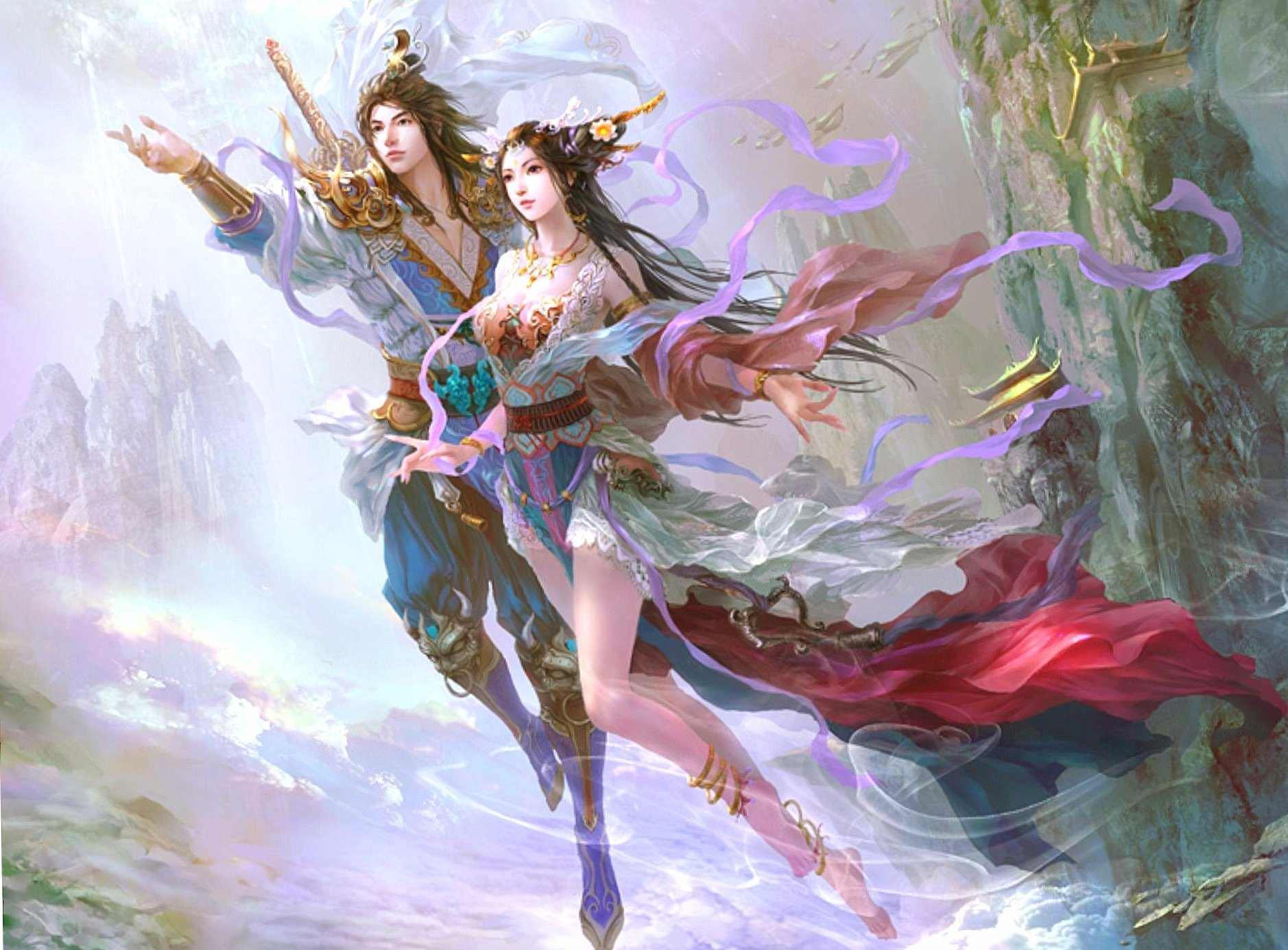 Two flying lovers wallpapers HD quality