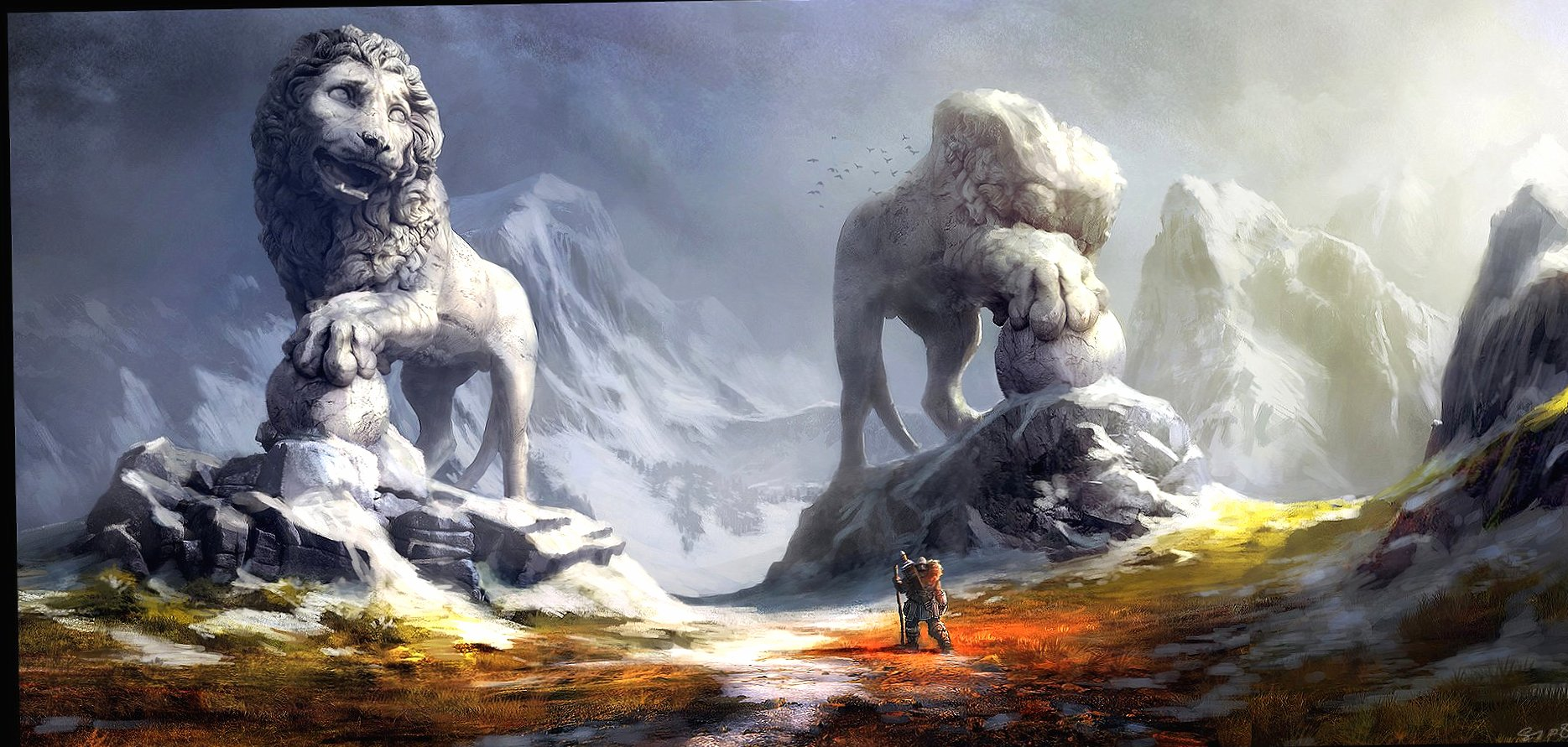 Two lion statues landscape wallpapers HD quality