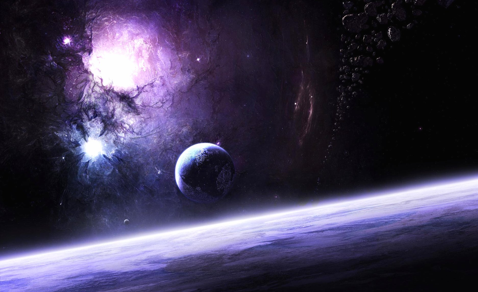Violet nebula and planets wallpapers HD quality