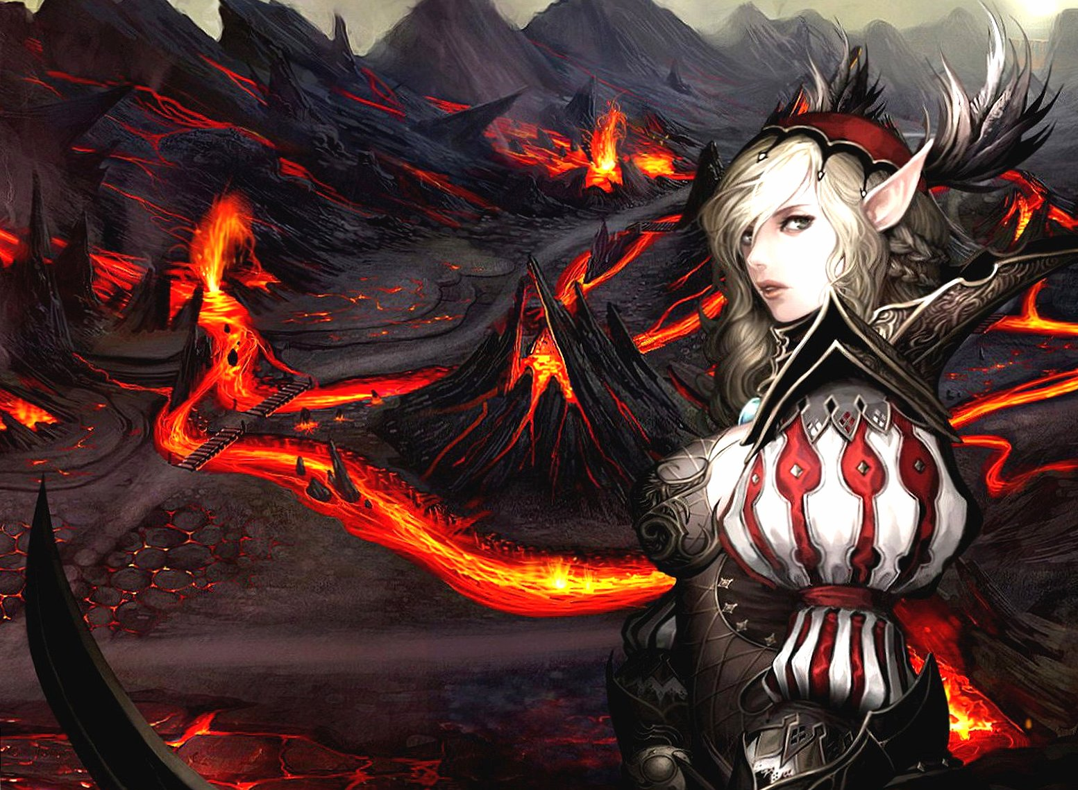 Volcano lava and elf wallpapers HD quality