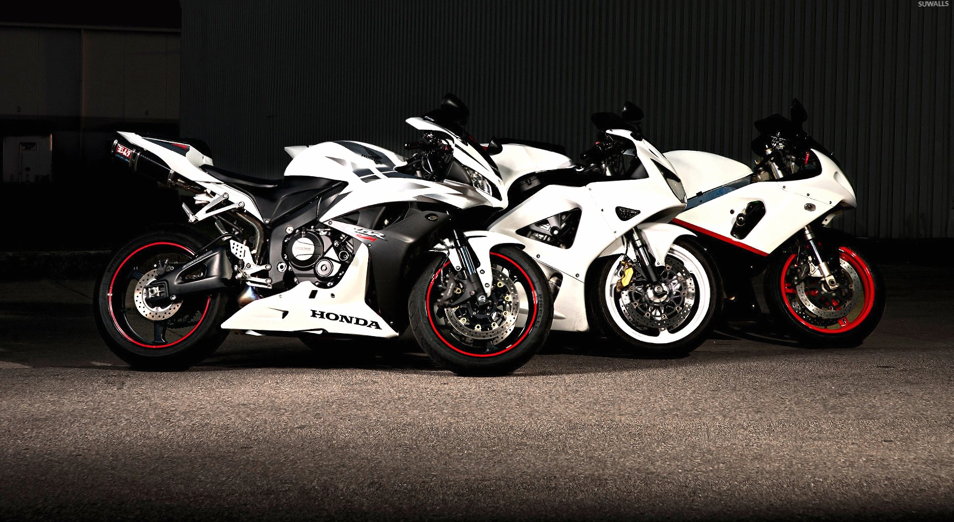 White Honda CBR series motorcycles wallpapers HD quality