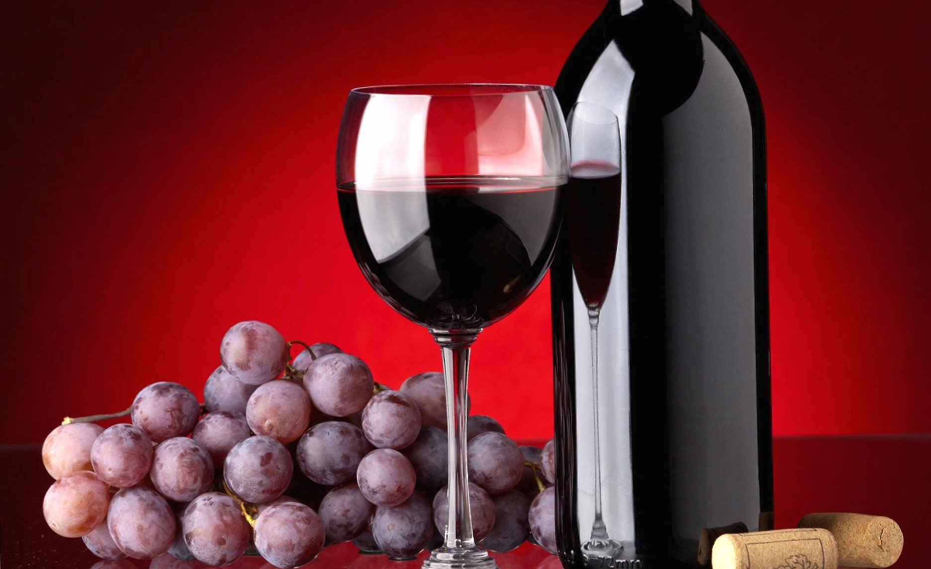 Wine red glass and bottle wallpapers HD quality