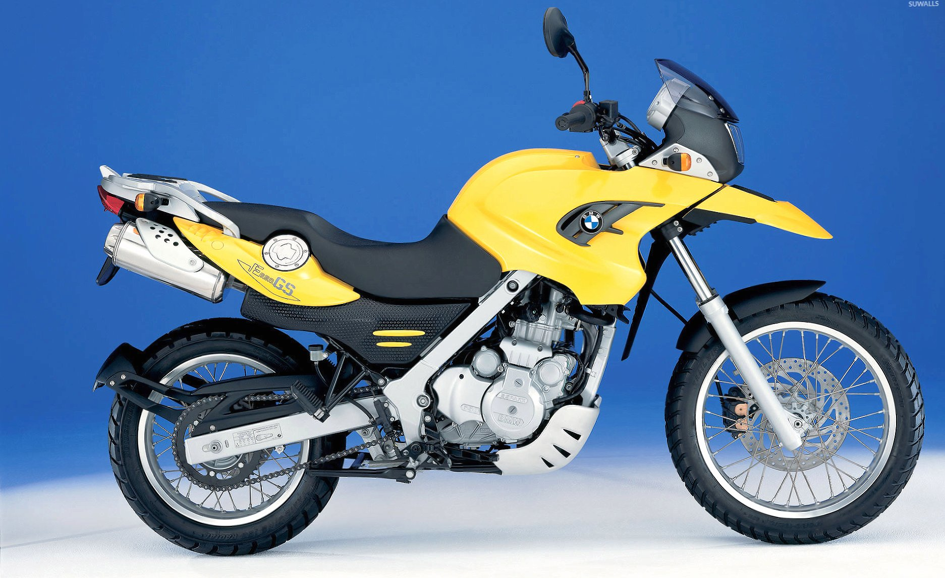 Yellow BMW F650GS side view wallpapers HD quality