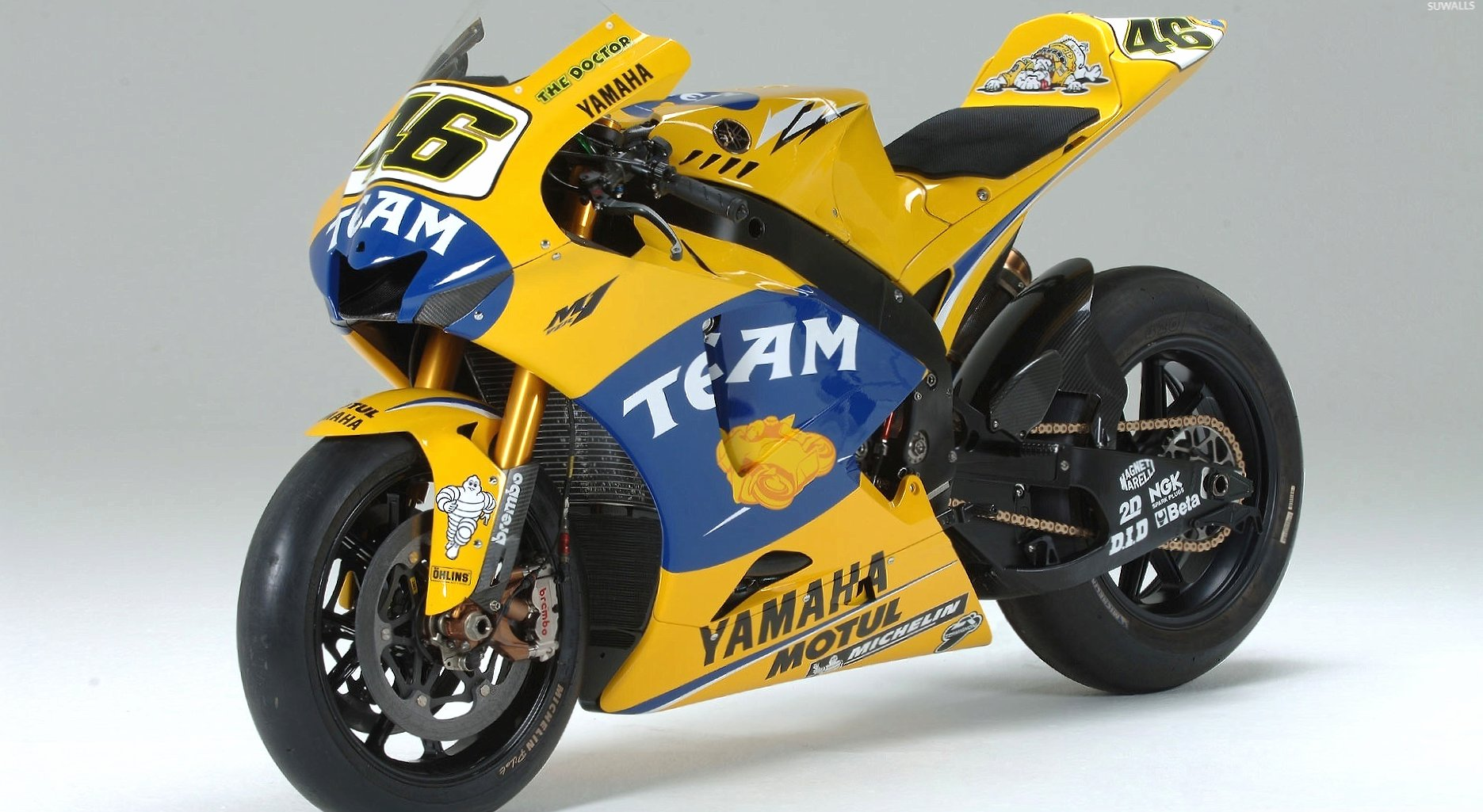 Yellow Yamaha YZR-M1 front side view wallpapers HD quality