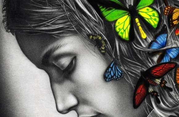 Butterfly woman colour digital art