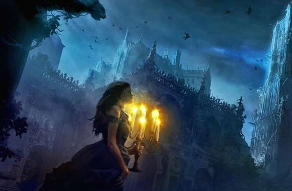 Candles woman out of castle wallpapers hd quality