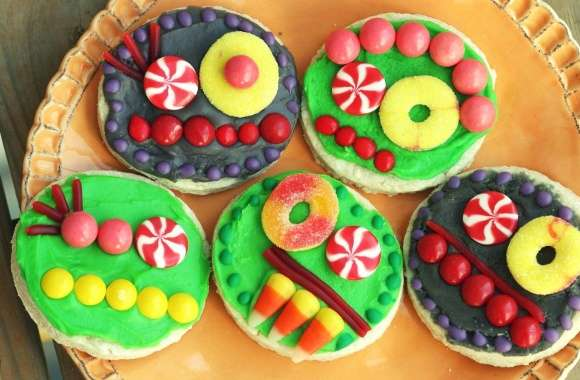 Colorful cupcakes on the pancakes