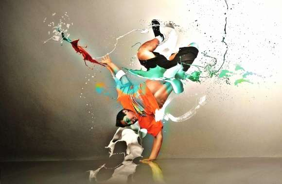 Dancer colour green orange digital art