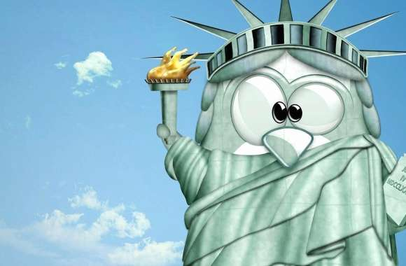 Funny bird statue of liberty