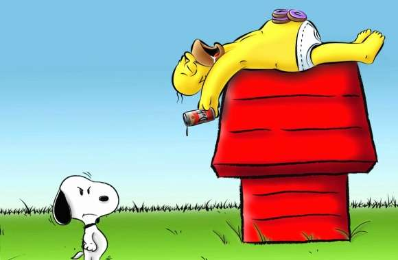 Funny snoopy and homer simpson