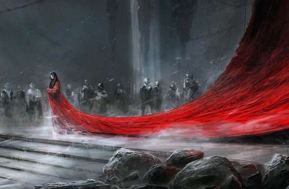 Long long red dress fantasy wallpapers hd quality