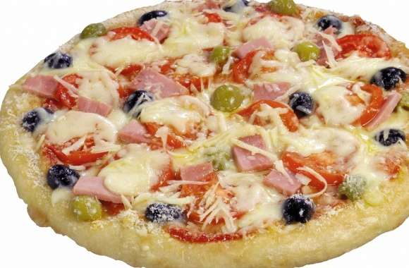 Pizza with ham olives and tomatoes