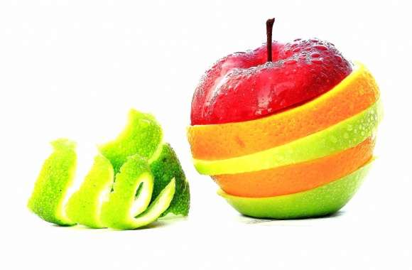 Sliced fruits like apple