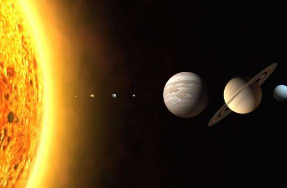 Solar system in scale