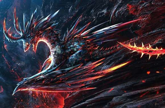 Volcano lava dragon wallpapers hd quality