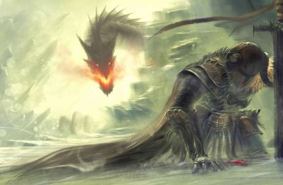Warrior defeated by dragon