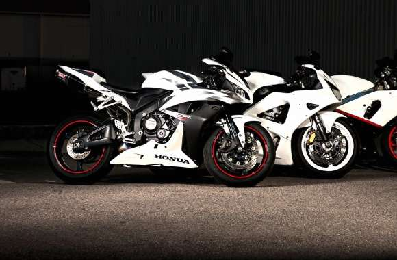 White Honda CBR series motorcycles