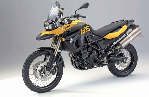 Yellow BMW F800GS front side view