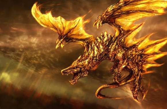 Yellow fired dragon wallpapers hd quality