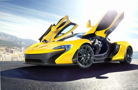 Yellow McLaren P1 with opened doors