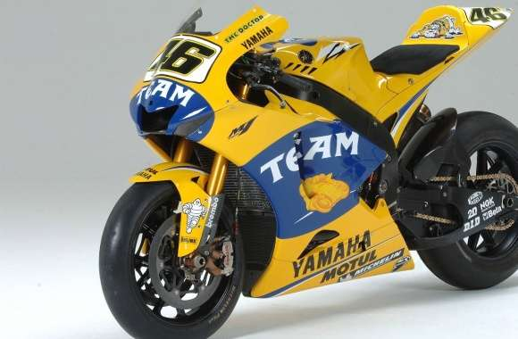 Yellow Yamaha YZR-M1 front side view
