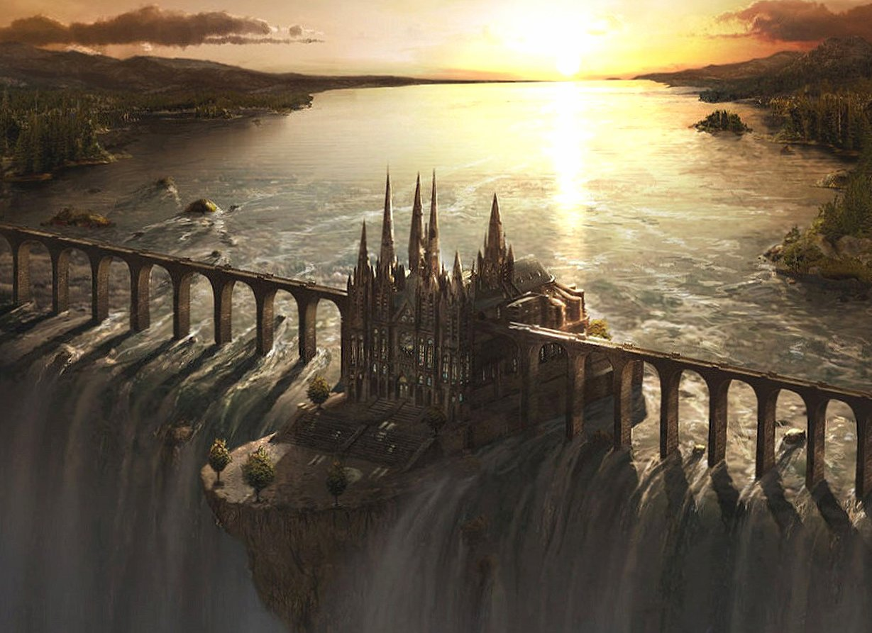 Above the waterfall castle fantasy wallpapers HD quality