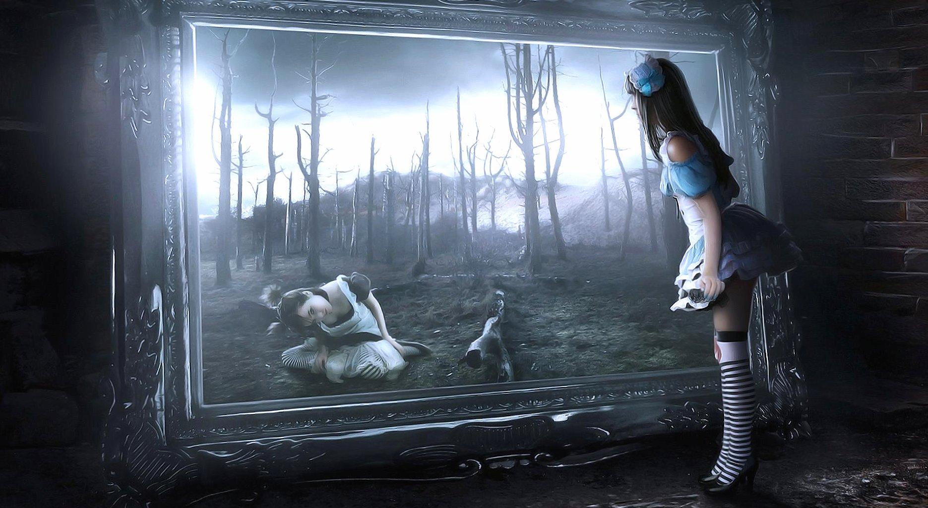 Alice mirror wonderland digital art wallpapers HD quality