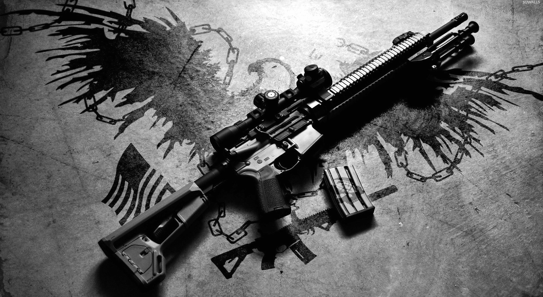 AR-15 rifle on the ground wallpapers HD quality