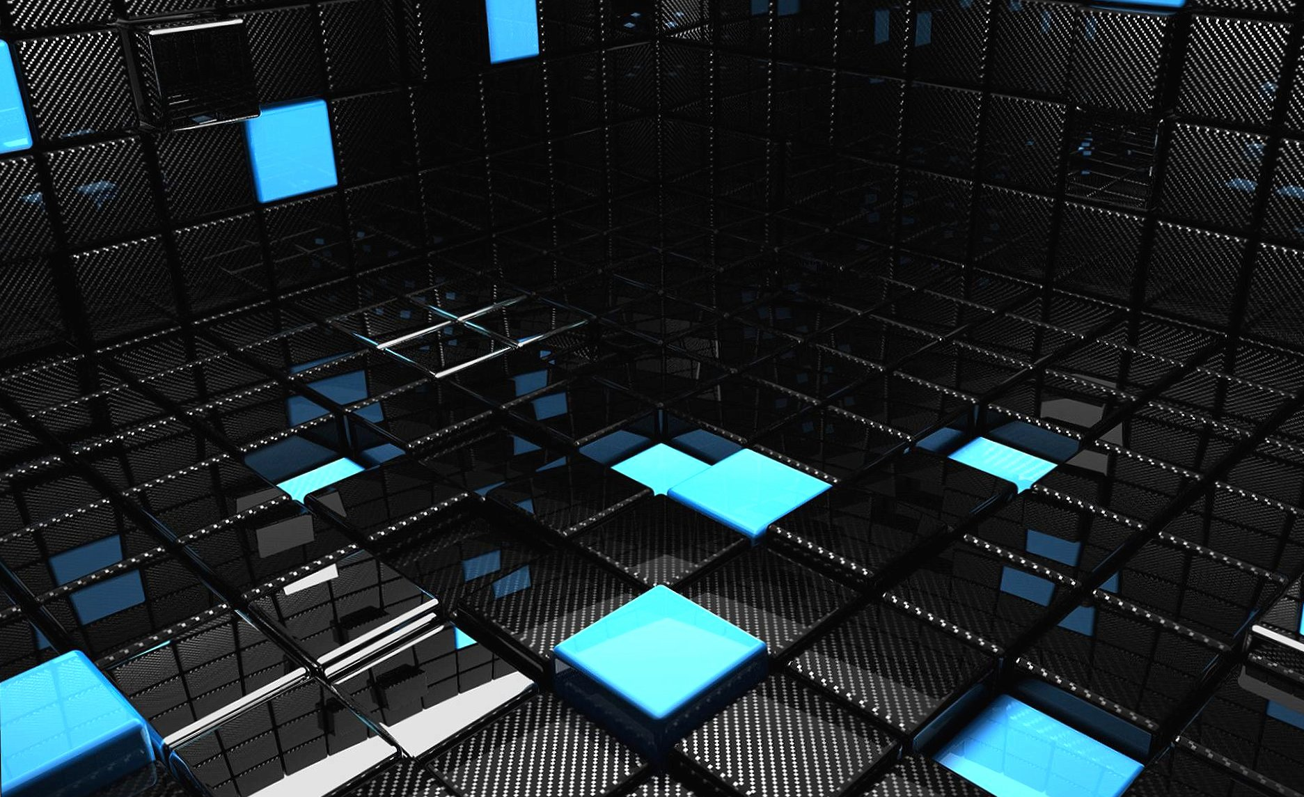 Black and blue cubes 3d digital wallpapers HD quality