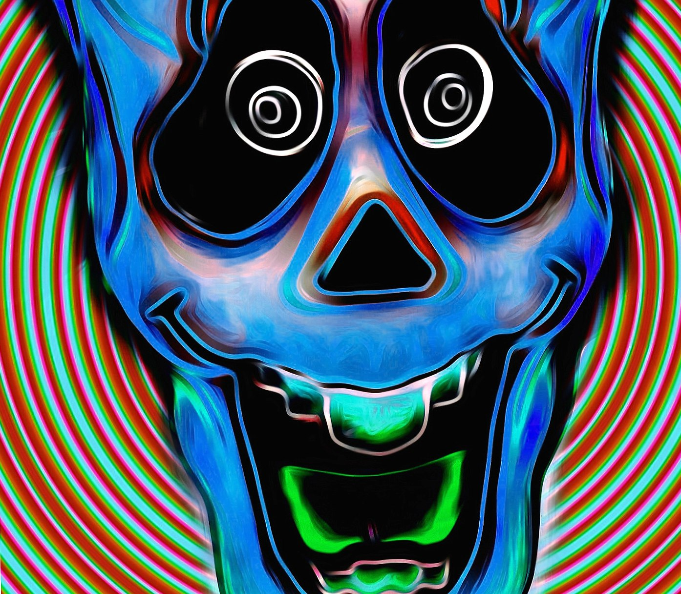 Blue trippy skull at 1024 x 768 size wallpapers HD quality