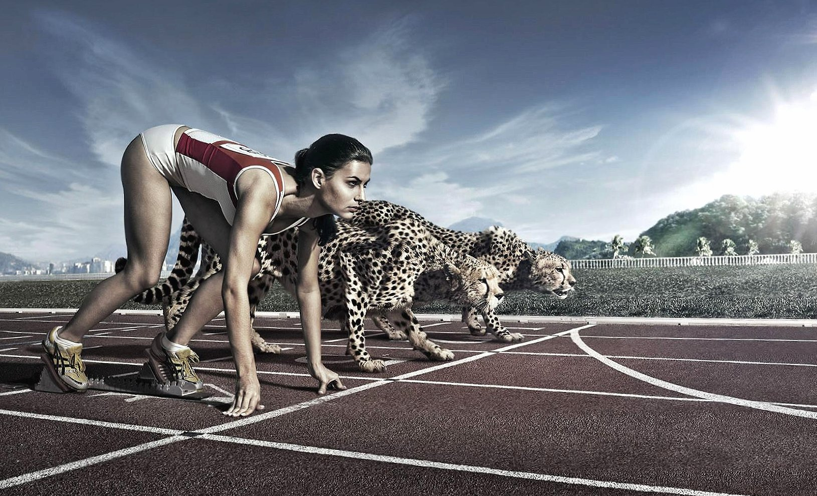Cheetahs vs woman digital art wallpapers HD quality