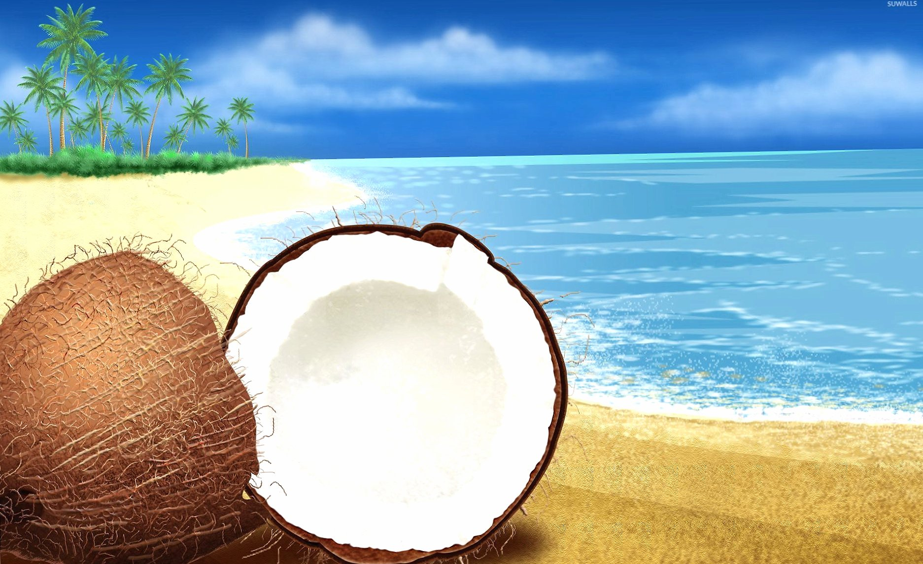 Coconut cut in half on the beach wallpapers HD quality