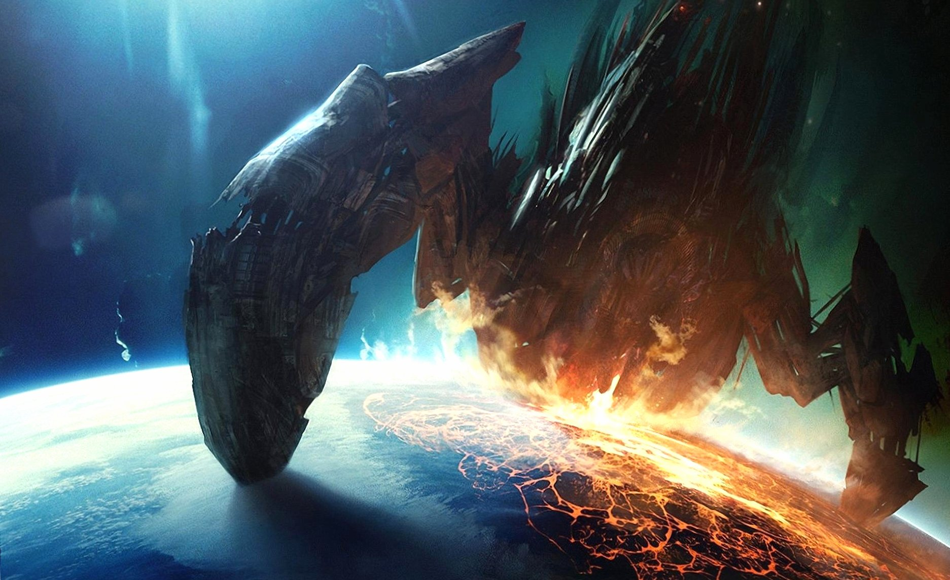 Collision giant spaceship planet wallpapers HD quality