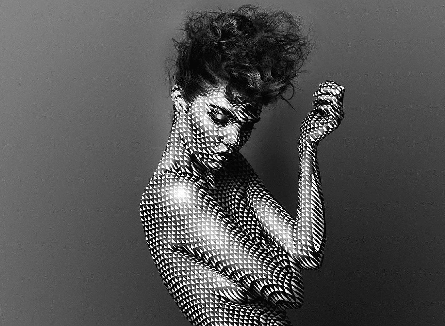 Digital triangle skin woman art wallpapers HD quality