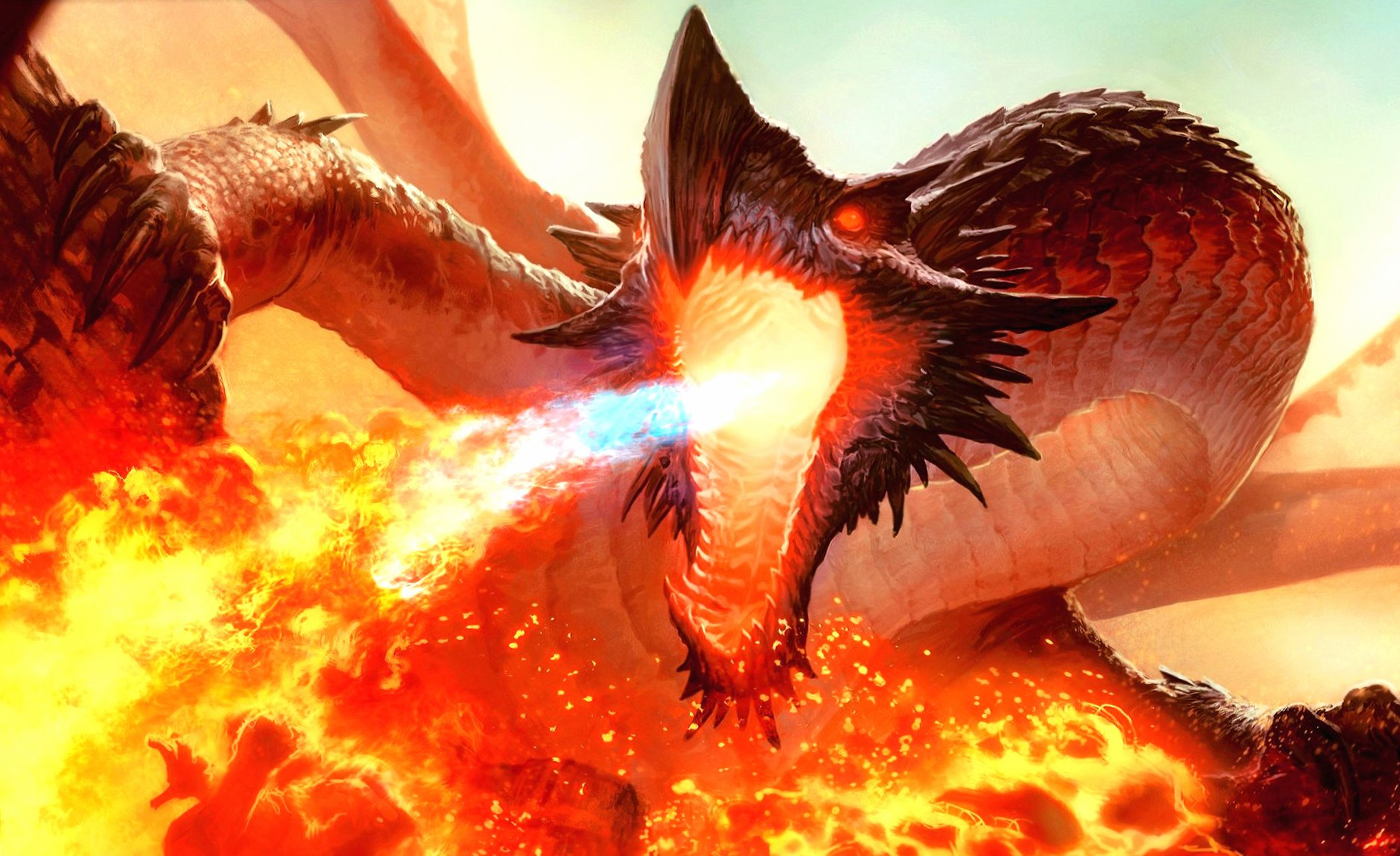 Fire dragon huge fantasy wallpapers HD quality
