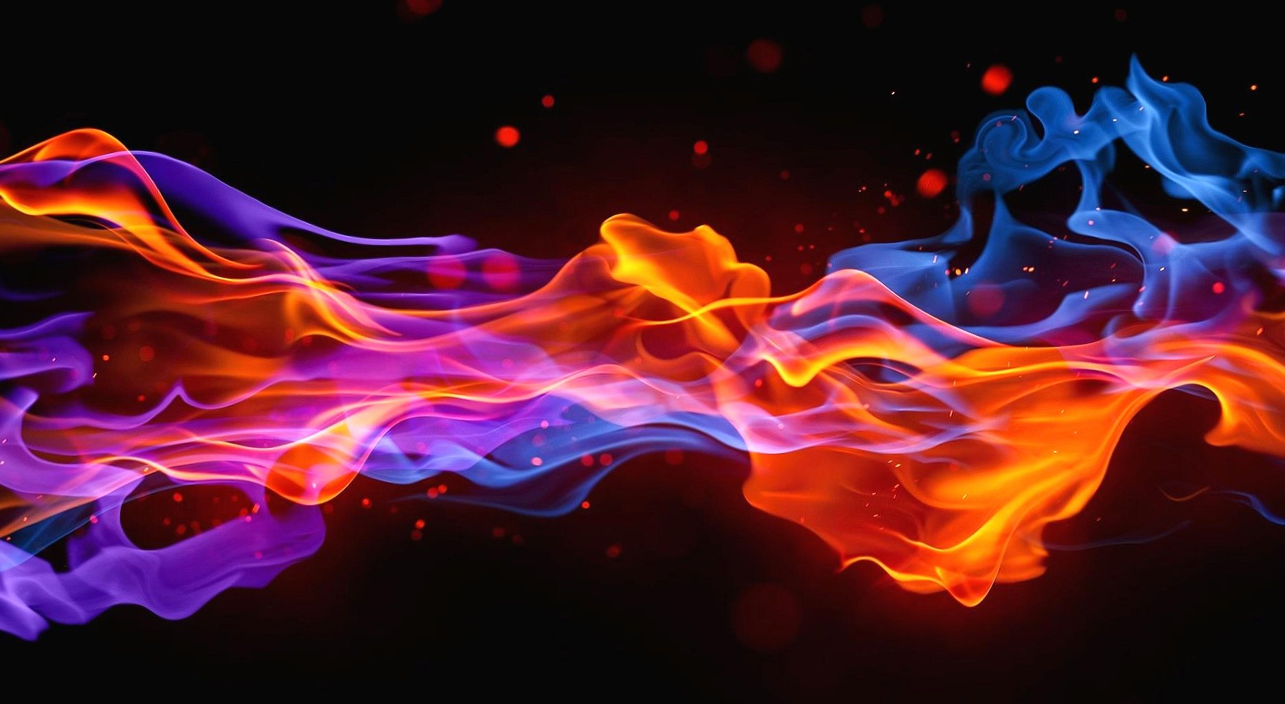 Fire red and blue digital wallpapers HD quality