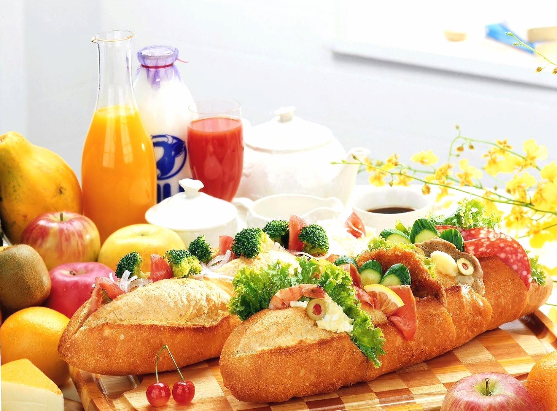 Food and baguettes wallpapers HD quality