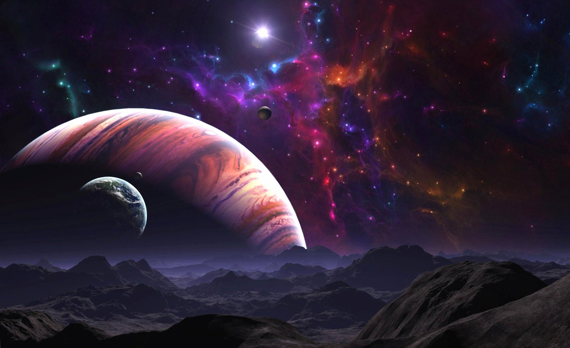 Four.planets and nebulae wallpapers HD quality