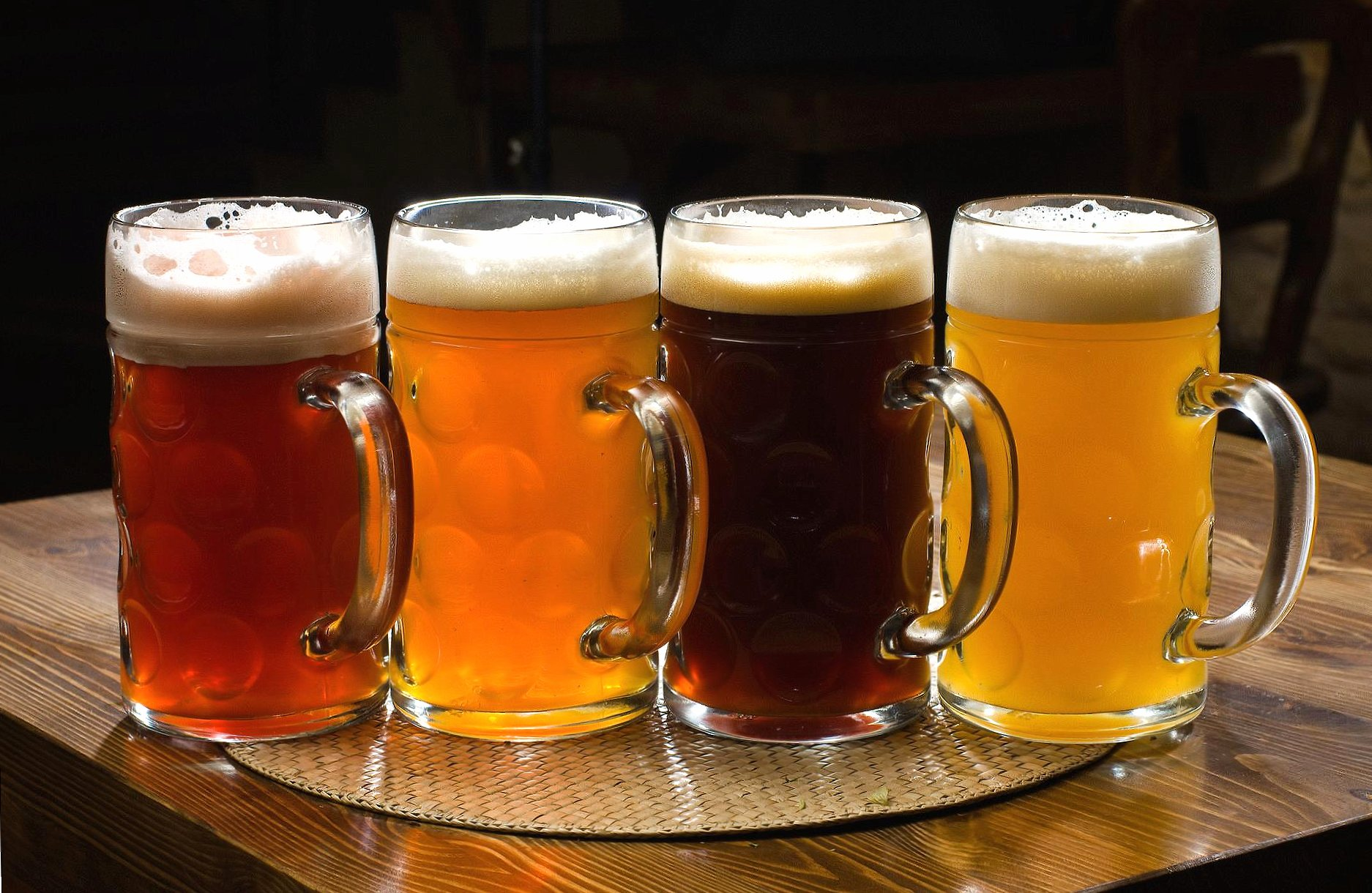 Four glasses of different beer wallpapers HD quality