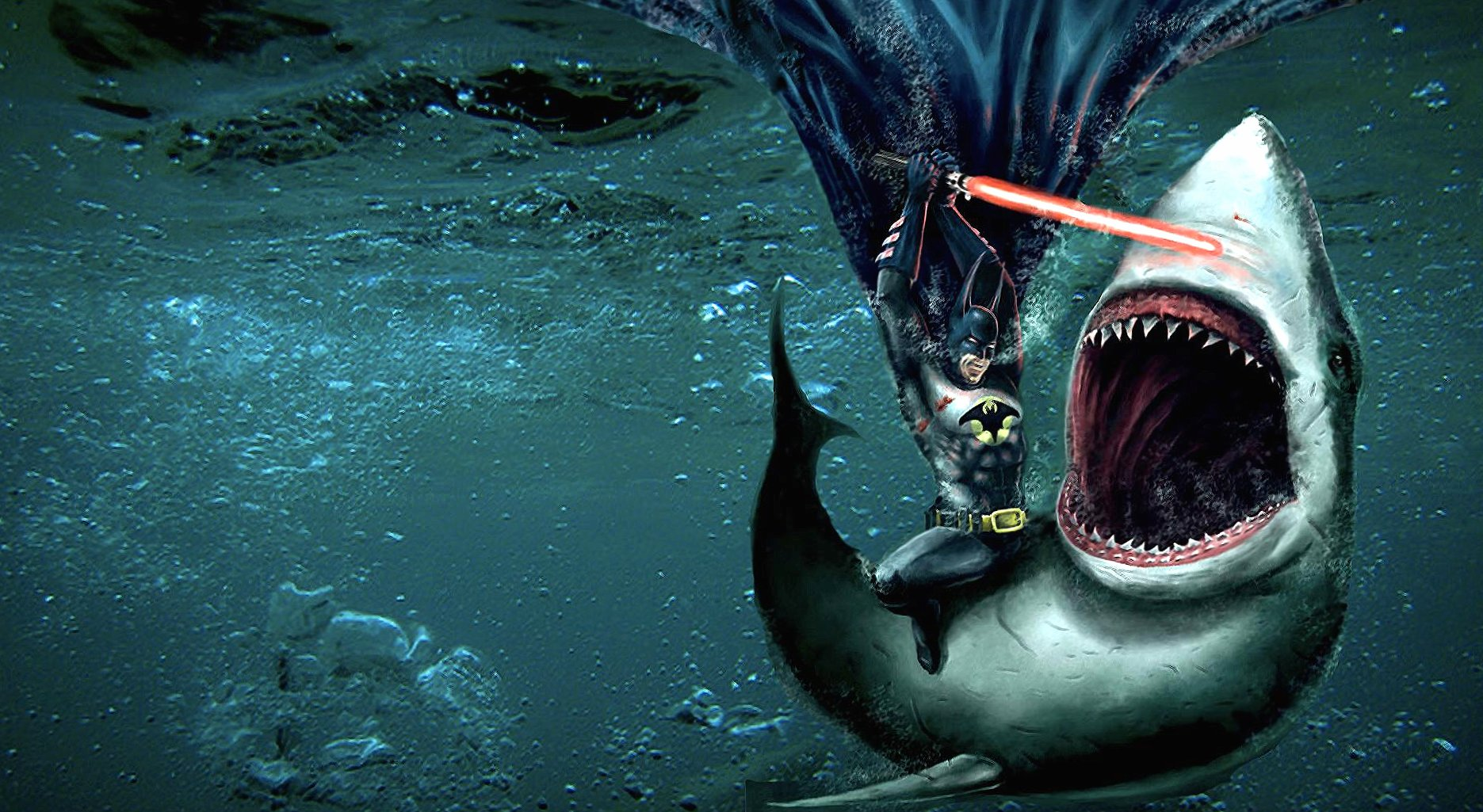 Funny shark vs batman wallpapers HD quality