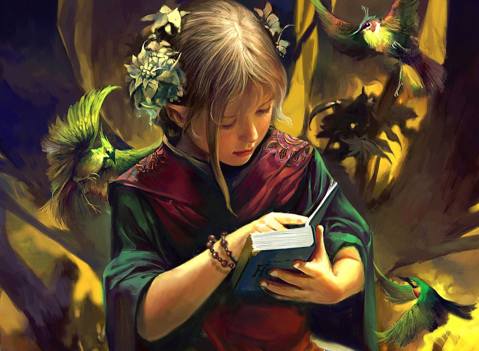 Girl and fantasy book wallpapers HD quality