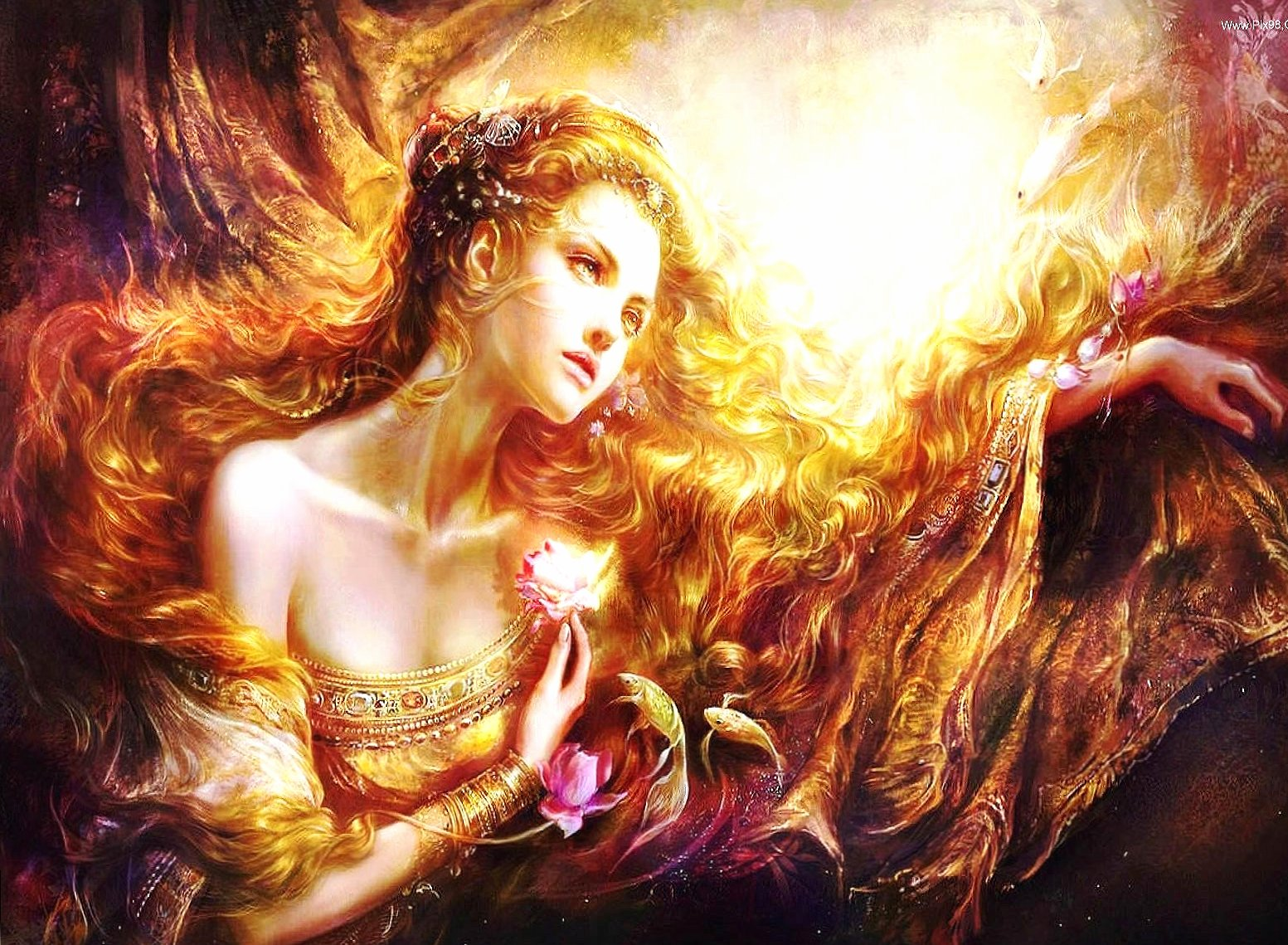 Gold undersea woman wallpapers HD quality