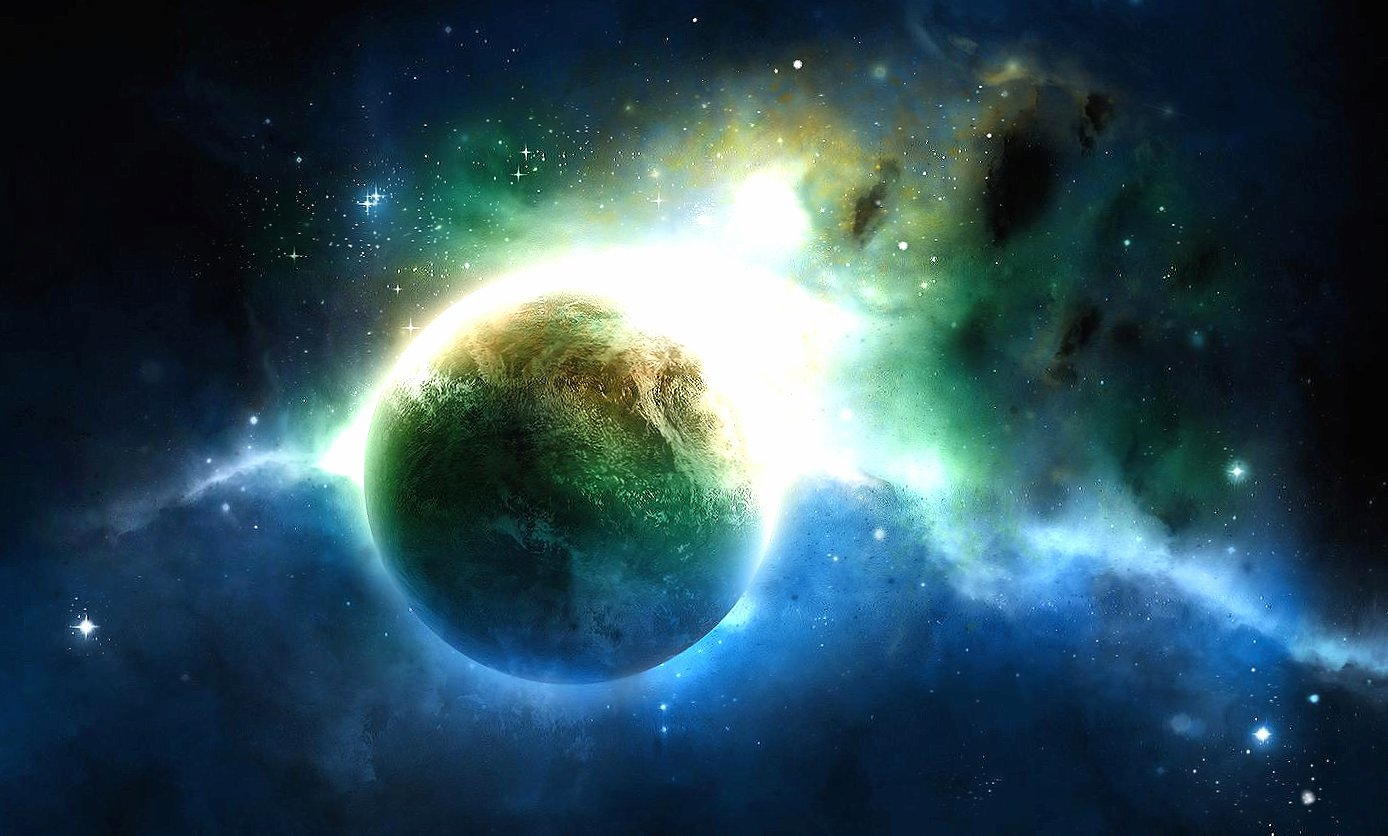 green blue light planet space wallpapers HD quality