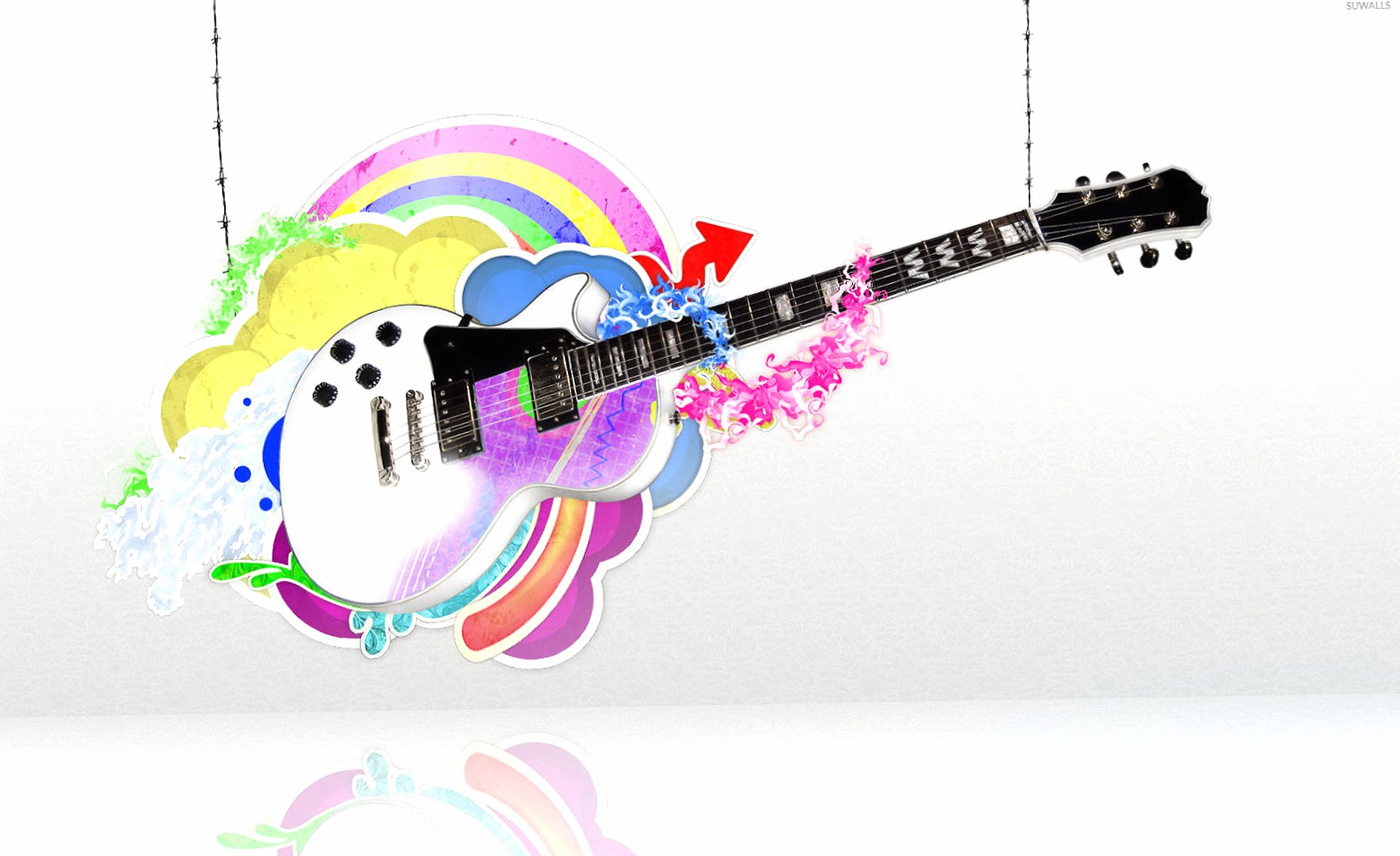 Guitar held by strings wallpapers HD quality