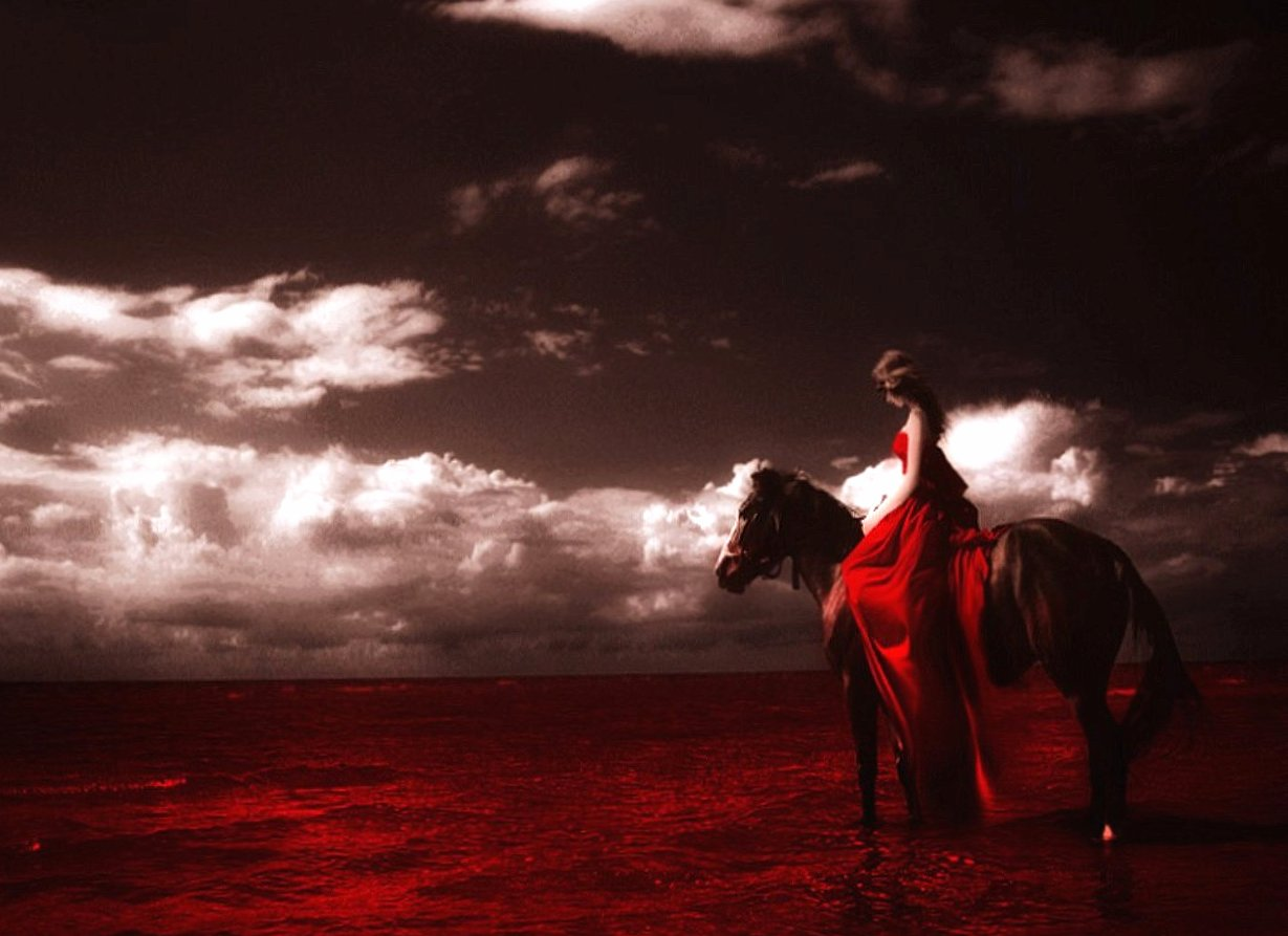 Horse girl and red sea fantasy wallpapers HD quality